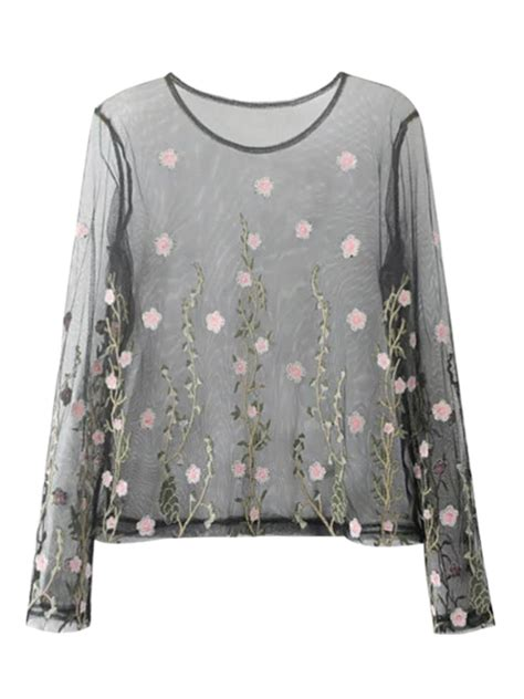 L 842 Transparent Top Bottom Costume sheer floral embroidered mesh blouse black blouses s zaful