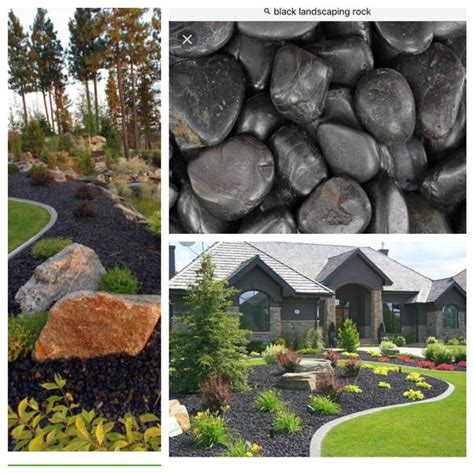 black landscaping rocks   mulch  front