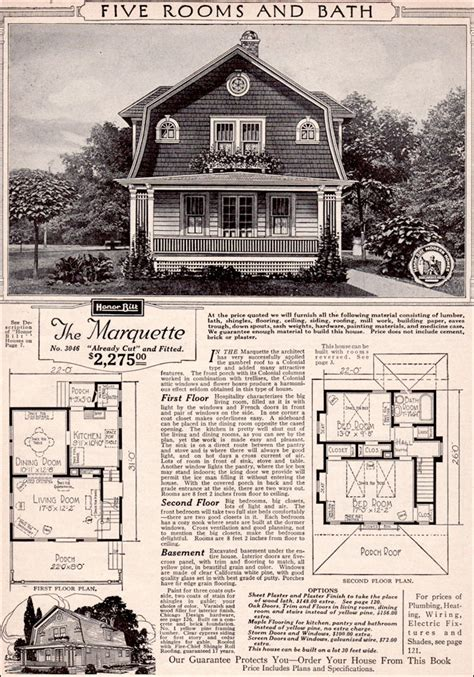 Gambrel Roof House Floor Plans by 1923 Marquette Forward Facing Gambrel Gabled Roof Sears Modern Homes Kit Houses