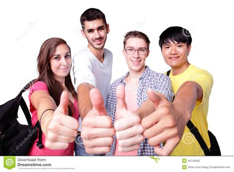 hipster male student showing thumb group stock photo group of happy students thumb up stock photo image 44746203