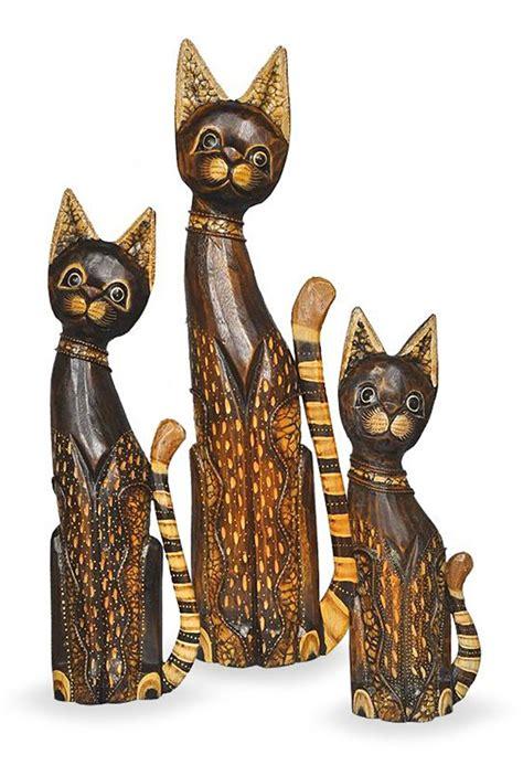 Katze Aus Holz by Deko Figur Katze Mauz Im 3 Er Set Braun Aus Albesia Holz