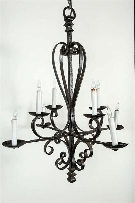 Wrought Iron Candle Chandeliers Eight Candle Wrought Iron Chandelier At 1stdibs