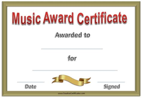 music certificate template free and customizable