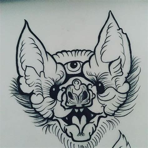 traditional bat tattoo traditional uncolored three eyed bat design