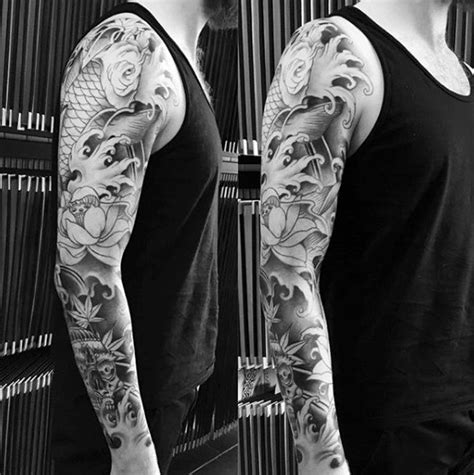 oriental tattoo black and white 120 japanese sleeve tattoos for men masculine design ideas