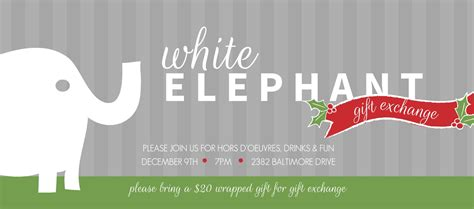 Gift Card Party Invitation Wording - white elephant holiday party invitation wording infoinvitation co