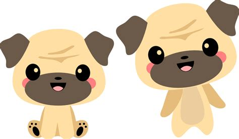 kawaii pug animal svg files for sure cuts a lot svg files scal files