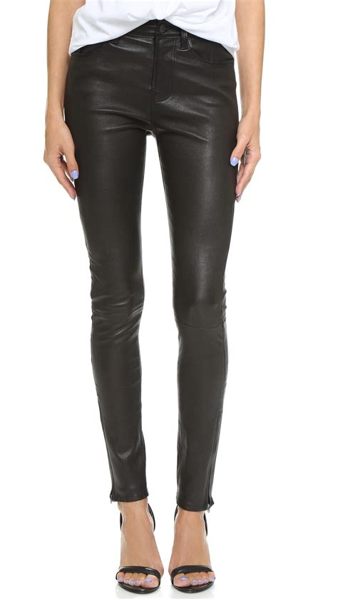 leather pants j brand maria high rise leather pants black in black lyst