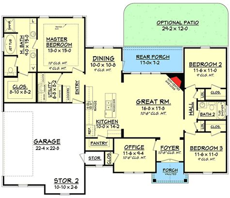 split floor plan split bedroom house plan with open floor plan 11797hz