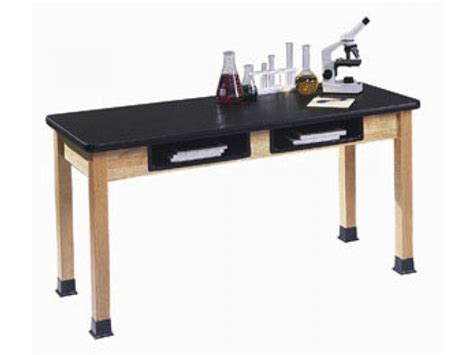 science lab table epoxy resin top and book boxes 54x24x36