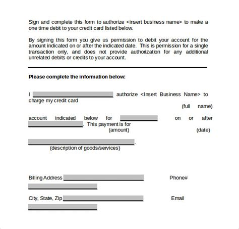 Credit Card Authorization Form Template In Word Credit Card Authorization Form 6 Free Documents In Pdf Word