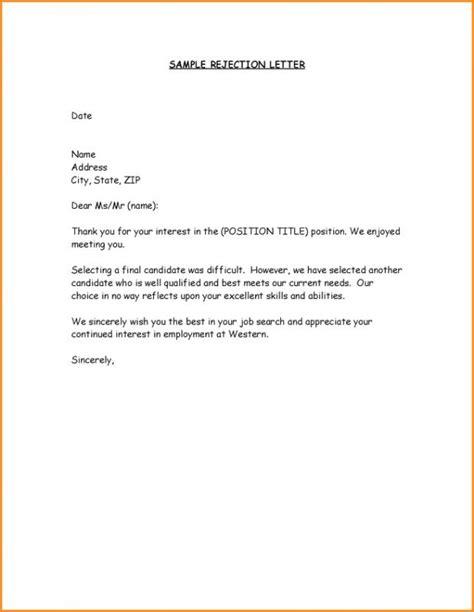 Refusal Letter For Offer