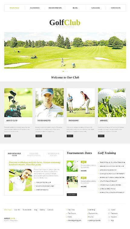 Best Website Templates From September 2013 Entheos Golf Website Template Free