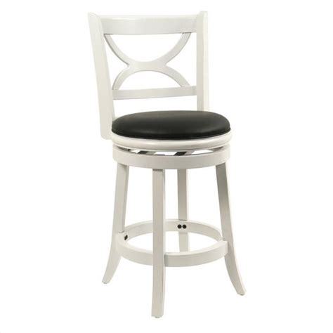 24 quot swivel counter stool in distressed white 43724