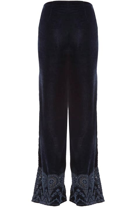 Embroidered Wide Leg signature wide leg embroidered velour trousers