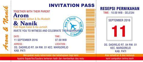desain brosur tiket pesawat desain undangan pernikahan unik nirwana digital print