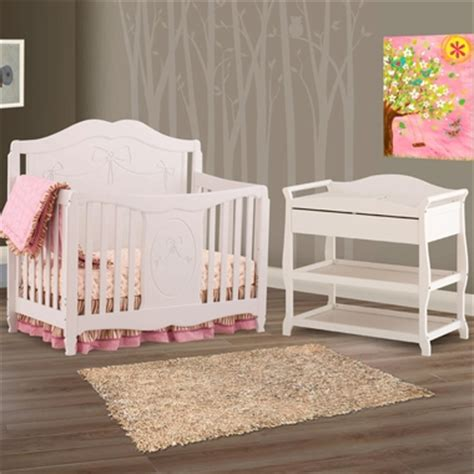 Storkcraft 2 Piece Nursery Set Princess 4 In 1 Fixed White Crib And Changing Table Set