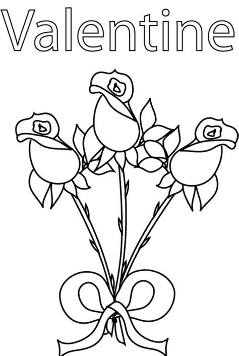 happy valentine s day flowers coloring page free valentines flower roses coloring pages coloringsuite com
