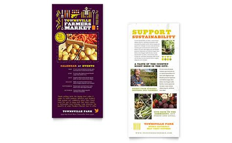 pages rack card template farmers market rack card template design
