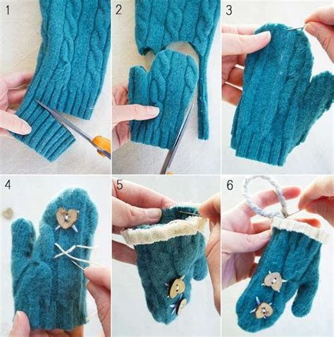 How To Make Handmade Decorations - diy mini mitten ornaments from an sweater