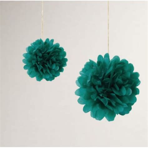 Pompom Decoration Polos Uk 20cm teal green hanging paper pom poms
