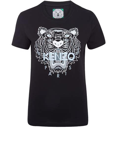 Tiger Print T Shirt lyst kenzo black tiger print cotton tshirt in black