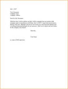 Resignation Letters 2 Weeks Notice by 6 2 Weeks Notice Resignation Letter Sle Basic Appication Letter
