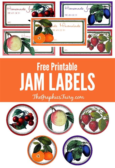 printable jam labels  graphics fairy