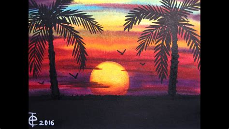 watercolor painting sunset  palm trees speed