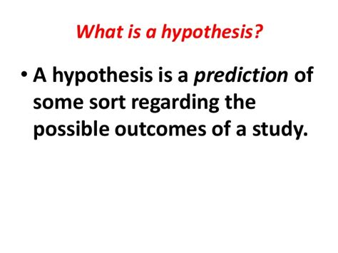 what is a one hypothesis