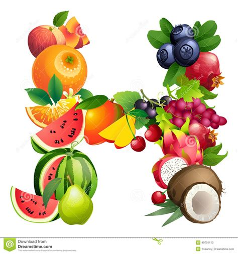 fruit with h letter h composed of different fruits with leaves stock