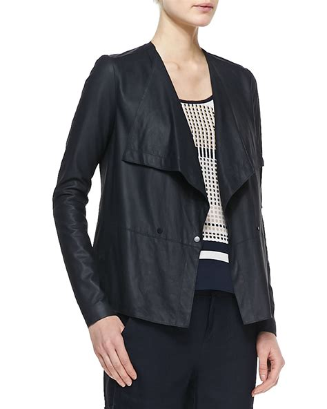 draped jackets vince lightweight draped leather jacket in black coastal