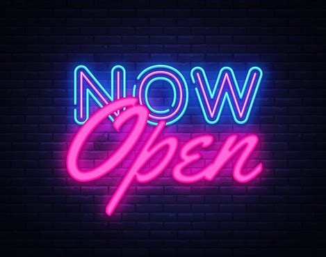 open neon text vector design template  open neon