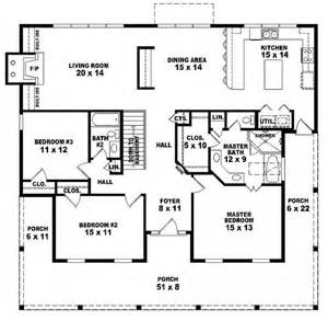 3 Story Floor Plans by 654173 One Story 3 Bedroom 2 Bath Country Style House