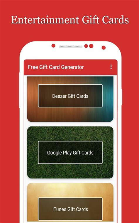 Free Gift Cards App Android - free gift card generator app lamoureph blog