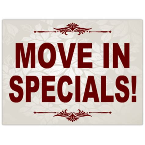 Apartment With Specials Move In Specials Sign 101 Apartment Sign Templates