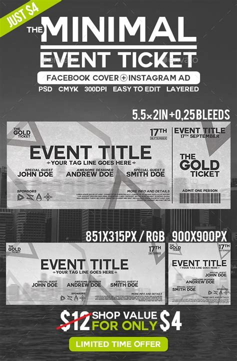 ticket templates for photoshop minimal event ticket minimal photoshop and ticket template