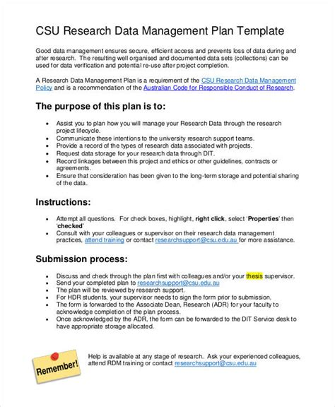 information management plan template 7 data management plan templates free sle exle