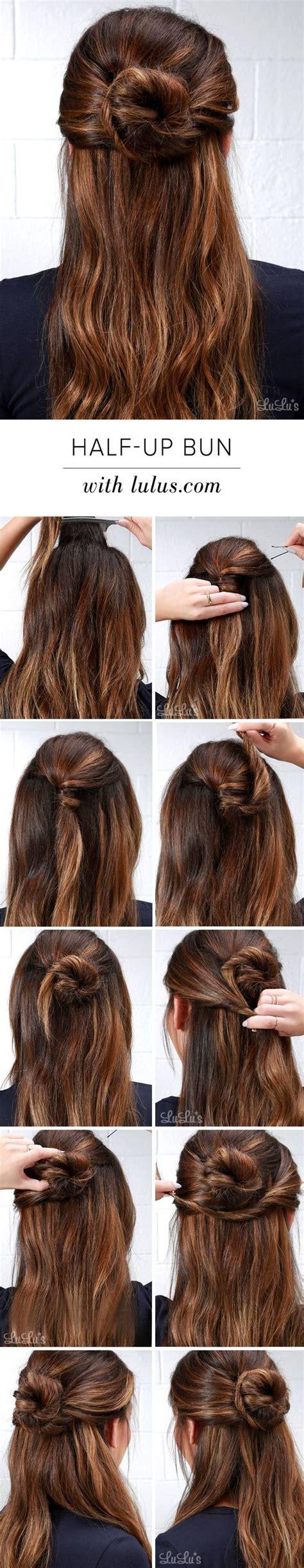 half up bun hairstyles tutorial 26 amazing bun updo ideas for long medium length hair