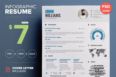 infographic resume template indesign infographic resume word indesign vol 1 free