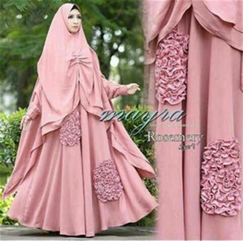 Baju Muslim Gaun Batik Syari Navy model baju gamis syari busui modern desain cantik terbaru