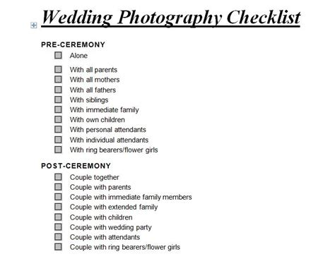 Wedding Photography Checklist by Wedding Photography Checklist Wedding Photography