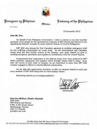 Formal Letter Your Excellency Ert Search Rescue His Excellency The Philippines Ambassador Leslie Gatan Thanks Ert Sar