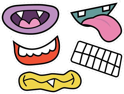 free printable eyes nose mouth monster mouths for pictures party time pinterest