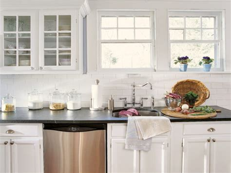white tile kitchen backsplash decoration glossy subway tile kitchens design inspiring