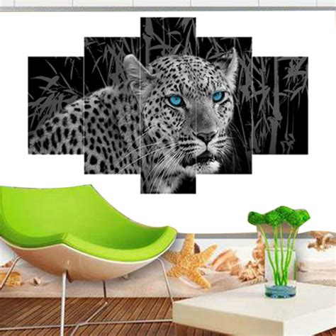 cheetah home decor 5 panel leopard cheetah modern print wall art painting
