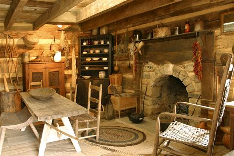 Primitive Country Home Decor by Arched Stone Fireplace In An Old Log Cabin Handmade