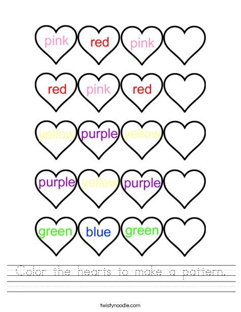 pattern coloring worksheet color the hearts to make a pattern worksheet twisty noodle