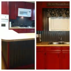 corrugated tin backsplash island w barn cabinets