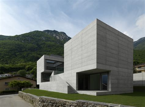 concrete suburban residential house alps switzerland